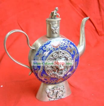 Chinese Palace Silver Cloisonne Lion King Head Kettle