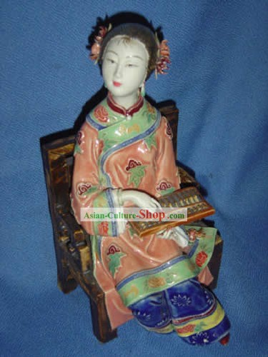 Chinese Vivid Ceramics Statue-Qing Dynasty Woman Doing Accounts