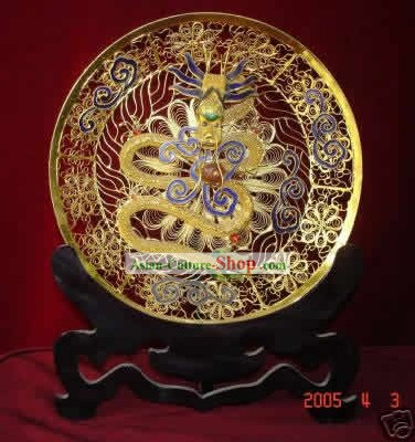 Chinese Palace Cloisonne Gold-plating Dragon Plate