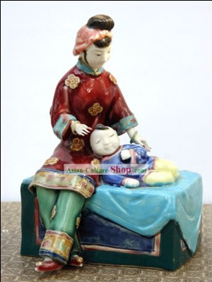 Hand Made Foshan Shi Wan Artistic Ceramics Statue-Mother Love