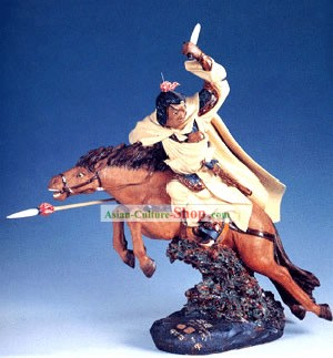 Chinese Hand Made Shi Wan Ceramics Statue-Ancient Brave General-Zhao Yun