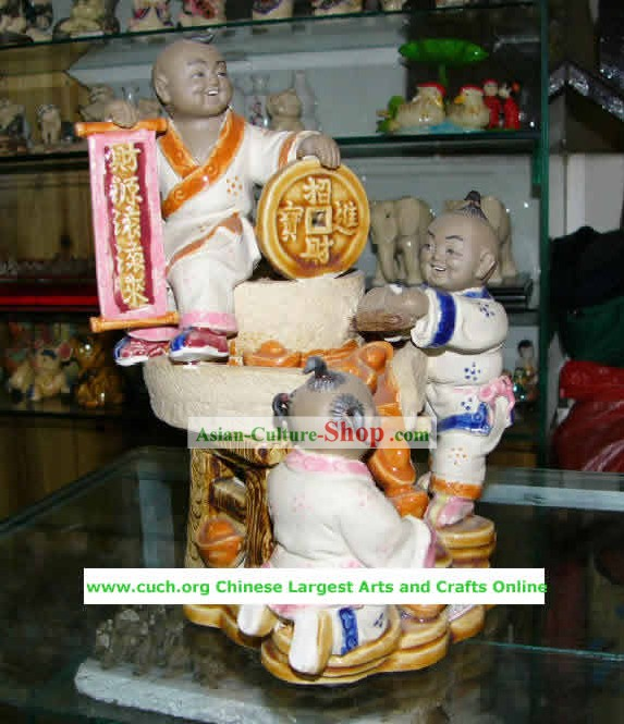 Chinese Hand Made Shi Wan Ceramics-Full of Fortune