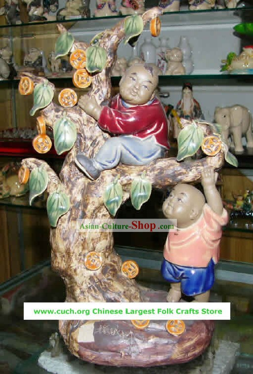 Chinese Hand Made Shi Wan Ceramics-Money Tree