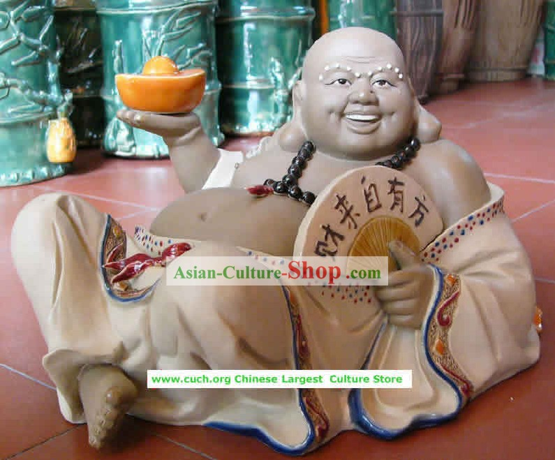 Chinese Hand Made Shi Wan Ceramics-Money Gathering For You