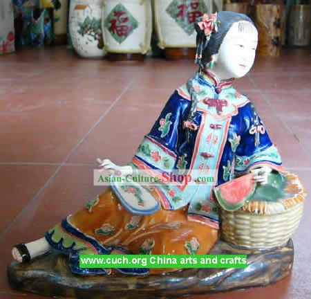 Hand Made Shi Wan Ceramics Statue-Summer Rest