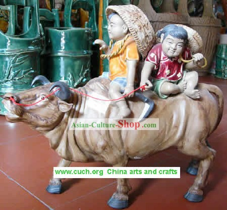 Shi Wan Ceramics Statue-Happy Cowboys