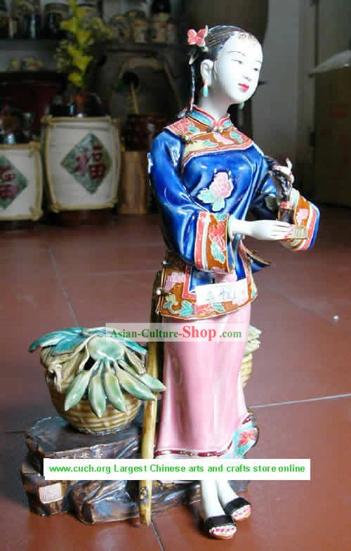 Hand Made Shi Wan Ceramics Statue-Happy Life