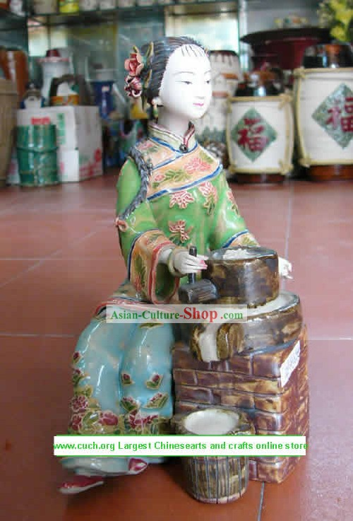 Hand Made Shi Wan Ceramics Statue-Empress Smile
