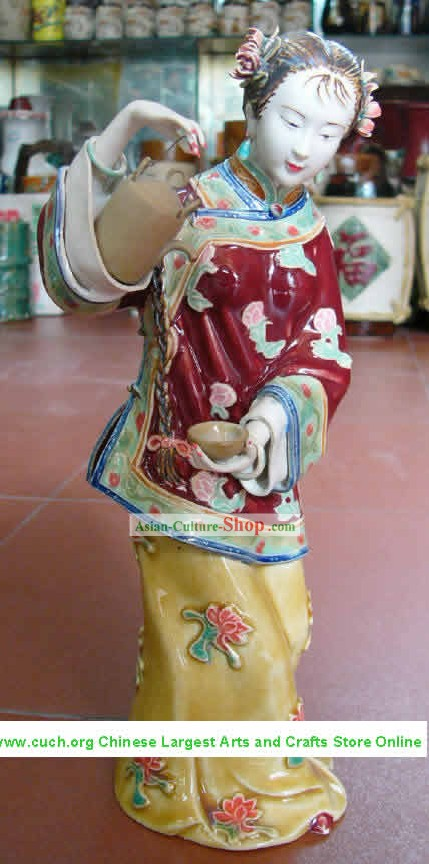 Hand Made Shi Wan Ceramics Statue-Ancient Happiness