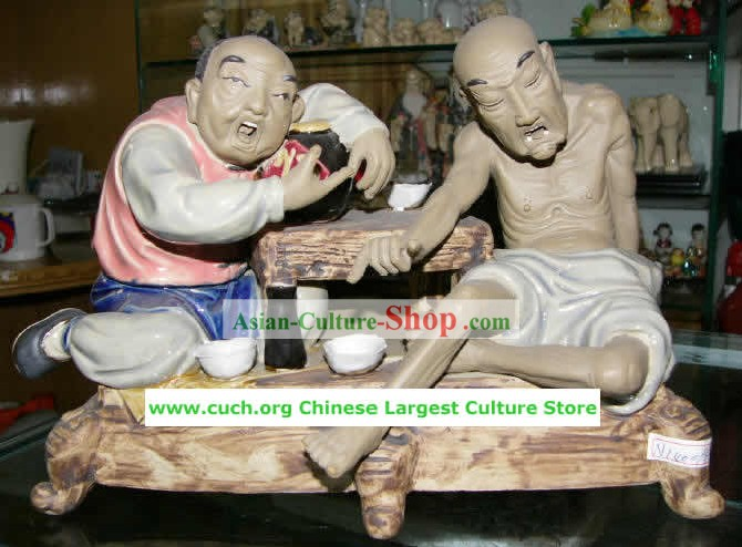 Chinese Hand Made Shi Wan Ceramics-Wine Game