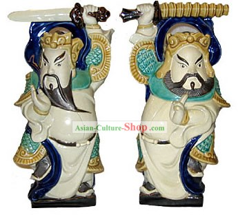 Chinese Hand Made Shi Wan Ceramics-Door God Pair