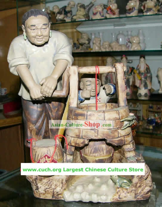 Chinese Hand Made Shi Wan Ceramics-Grandmother Love