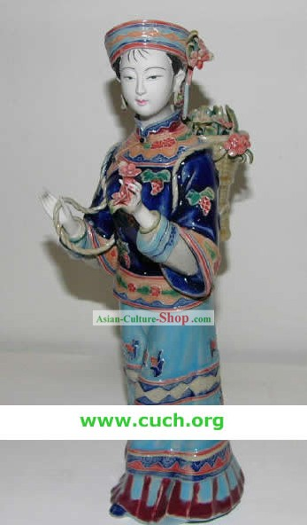 Chinese Hand Made Shi Wan Ceramics Statue-Country Woman