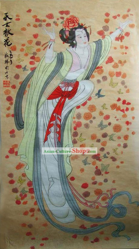 Chinese Traditional Painting-The Heavenly Maids Scatter Flower