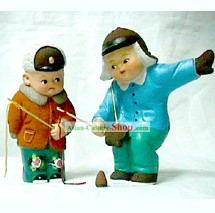 Chinese Hand Made Clay Figurine-Playing Traditional Game Peg-top