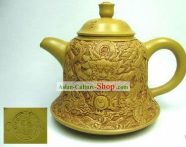 Chinese Hand Made Duan Teapot with Hand Carved Dragons On it