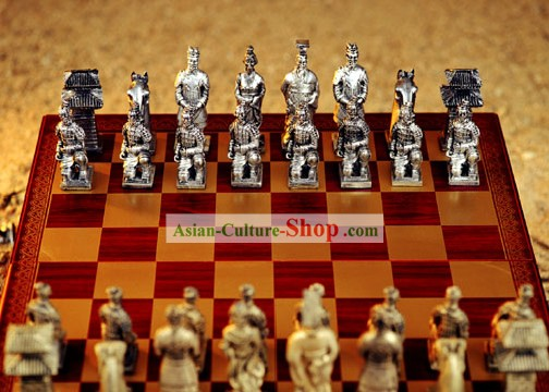 Chinese Stunning Terra Cotta Warriors Chess Set