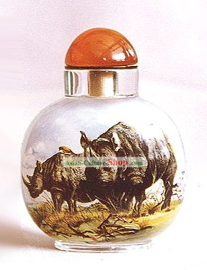 Snuff Bottles With Inside Painting Chinese Animal Series-Rhinoceros