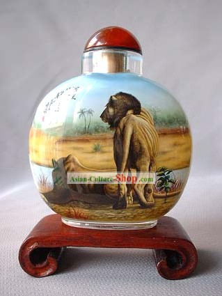 Snuff Bottles With Inside Painting Chinese Animal Series-Lions