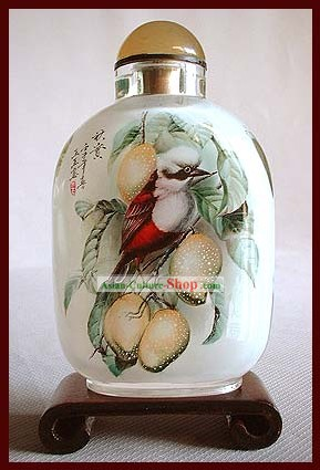 Snuff Bottles With Inside Painting Birds Series-Red Bird with Snowy Head
