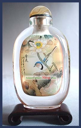 Snuff Bottles With Inside Painting Birds Series-Bird under the Flower