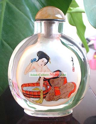 Snuff Bottles With Inside Painting Characters Series-Chinese Ancient Bathing Beauty