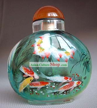 Snuff Bottles With Inside Painting Fishes Series-Lotus Fishes
