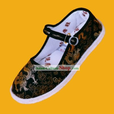 Chinese Hand Made Folk Dragon Black Cloth Shoes for Man