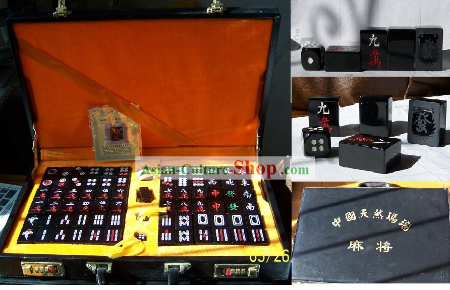 Chinese Nature High-class Black Agate Mahjong Imperial Set(144 pieces)