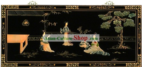 Chinese Hanging Lacquer Ware Mirror Series-Palace Beauties Chatting
