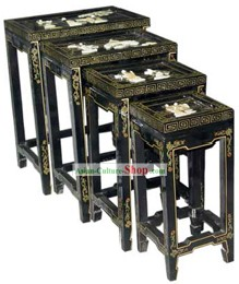 Chinese Classic Lacquer Ware-Square Tea Table