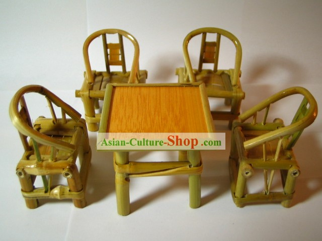 Chinese Traditional Mini Furniture-Bamboo Desk and Chairs Set