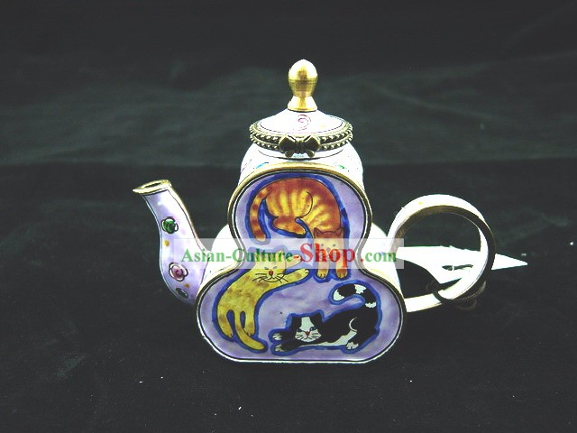 Chinese Hand Painted Enamel Calabash Pot-World of Cat