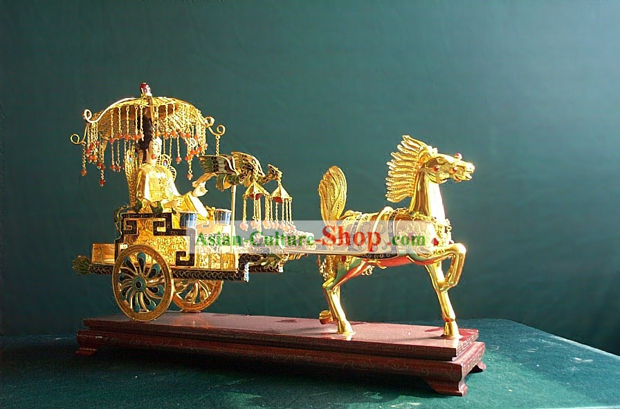 Chinese Stunning Gold Brass Cloisonne Ancient Princess and Carriage Statue