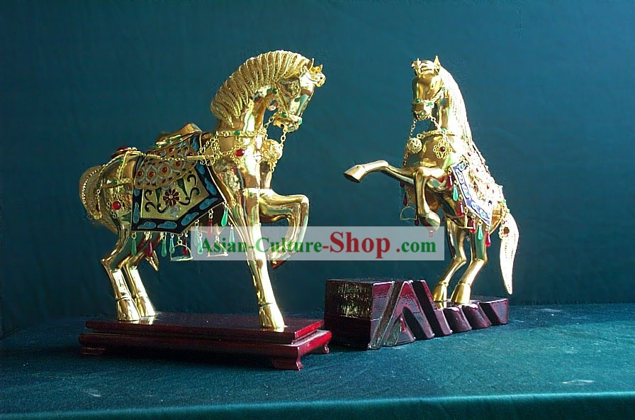 Chinese Gold Brass Cloisonne Horse Pair