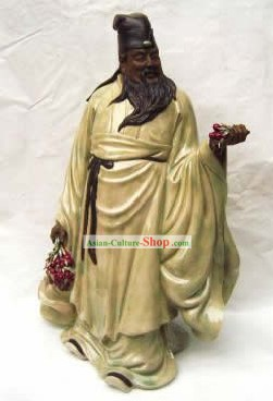 Chinese Porcelain Figurine from Shi Wan-Su Dongpo Enjoying Lichee