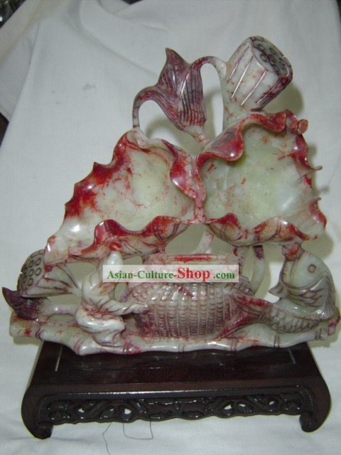 Chinese Rare Green Jade Lotus Sculpture