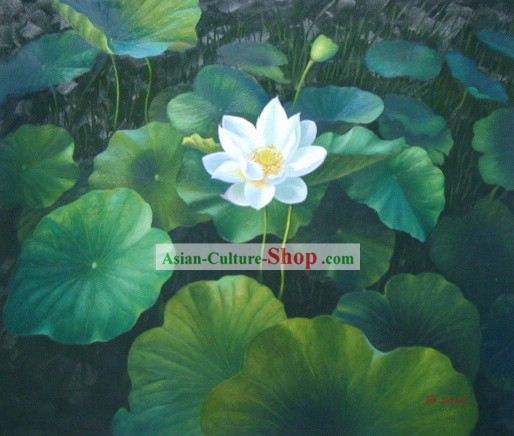 Chinese Classic Oil Painting-Pure White Lotus