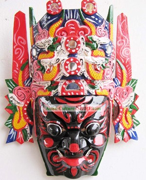 Chinese Traditional Woodcarving Collectible-Ancient Folk Drama Man Mask