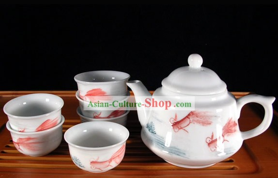 China Jingde Porcelain Hand Painted Goldfish Kungfu Tea Set