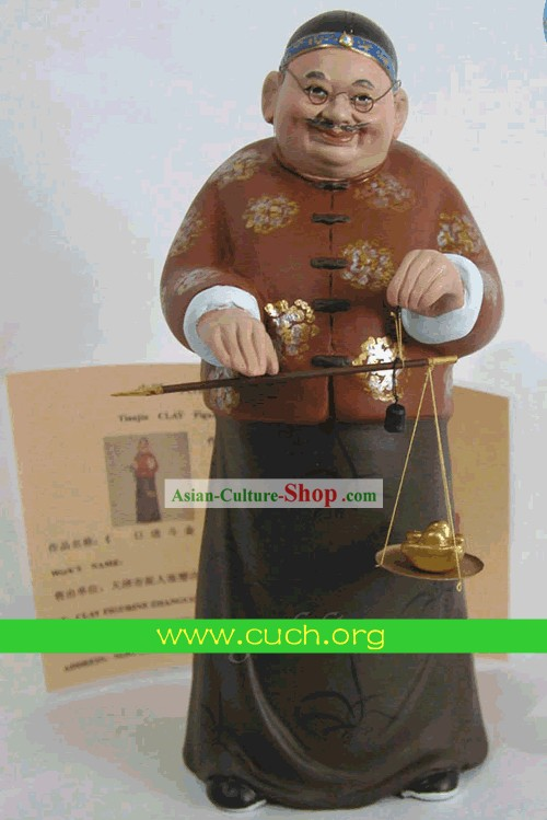 Chinese Clay Figurine Zhang by Zhang Fanyun-Getting Richer and Richer