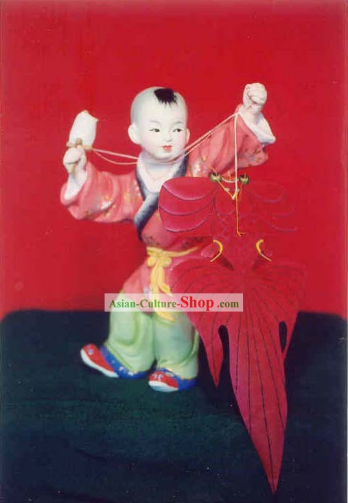 Chinese Hand Painted Sculpture Art of Clay Figurine Zhang-Flying Kite