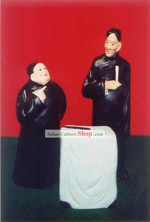 Chinese Hand Painted Sculpture Art of Clay Figurine Zhang-Comic Dialgoue