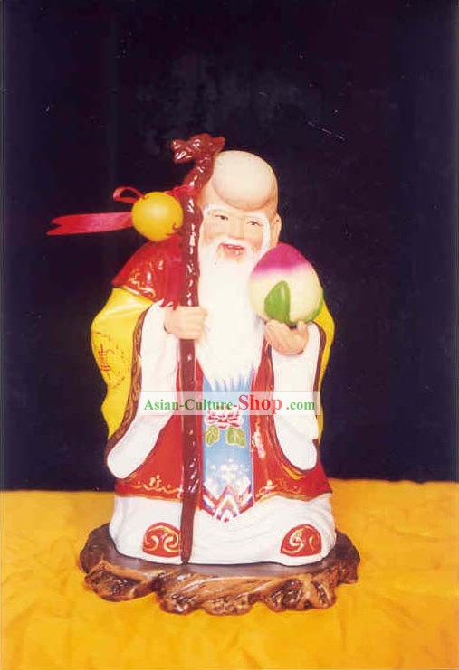 China Painted Sculpture Art of Clay Figurine Zhang-The God of Long Longevity(in ancient fable)