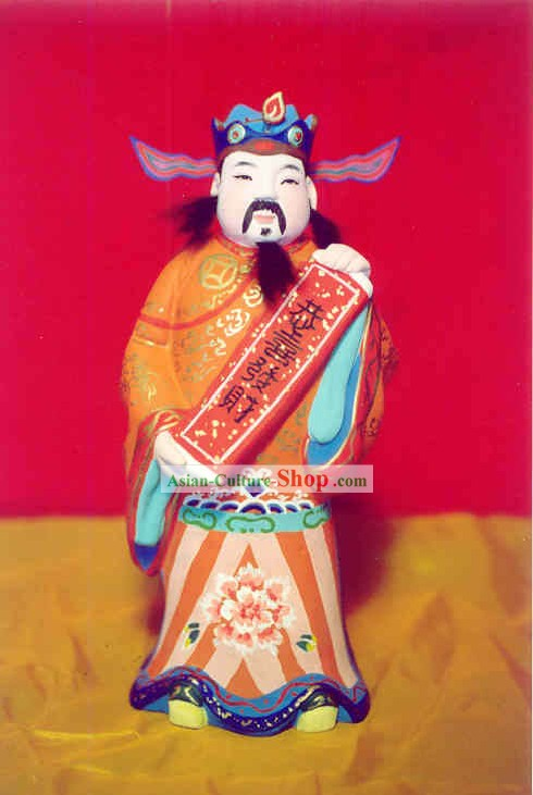 China Painted Sculpture Art of Clay Figurine Zhang-Mammon
