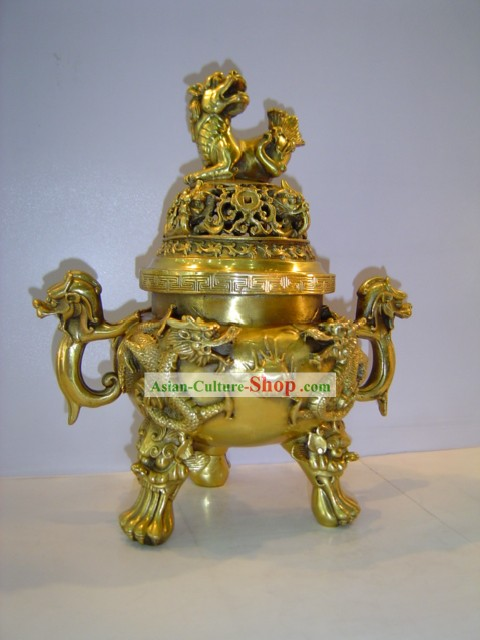 Chinese Classic Brass Statue-Ancient Palace Large Lion Censer