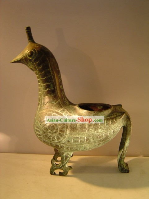 Chinese Classic Archaize Bronze Ware-Palace Bird Statue