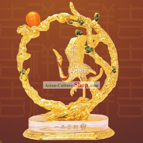 Chinese Stunning Gold Crane Bless Statue