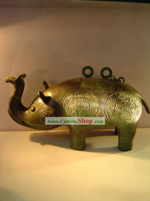 Chinese Classic Archaize Bronze Ware-Ancient Elephant Shape Wine Vessel