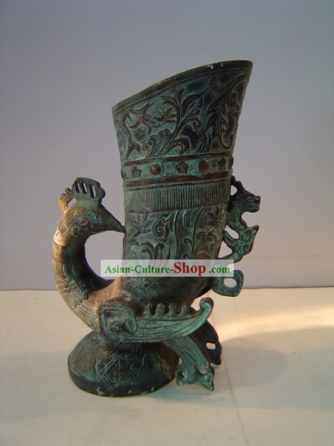 Chinese Classic Archaize Bronze Ware-Ancient Palace Peacock Cup
